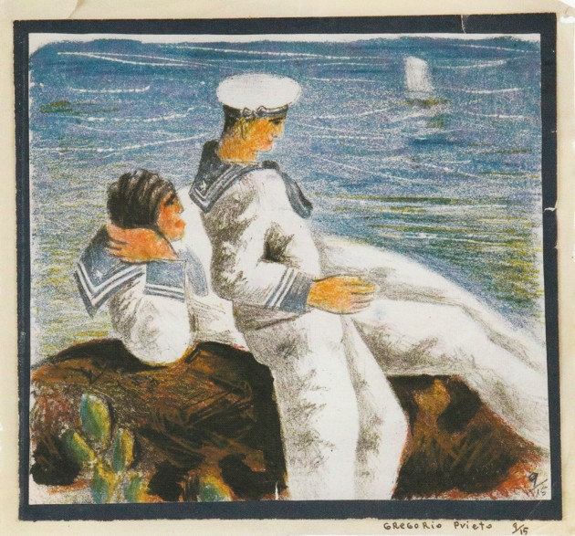 marineros-litografia-retocada-con-grafito-y-lapiz-de-color-1935-1947
