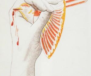 pajaro-herido-litografia-retocada-con-lapices-de-color-1935-1947