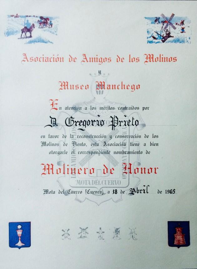 Título Molinero de Honor