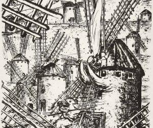 Don Quijote luchando contra molinos de viento
