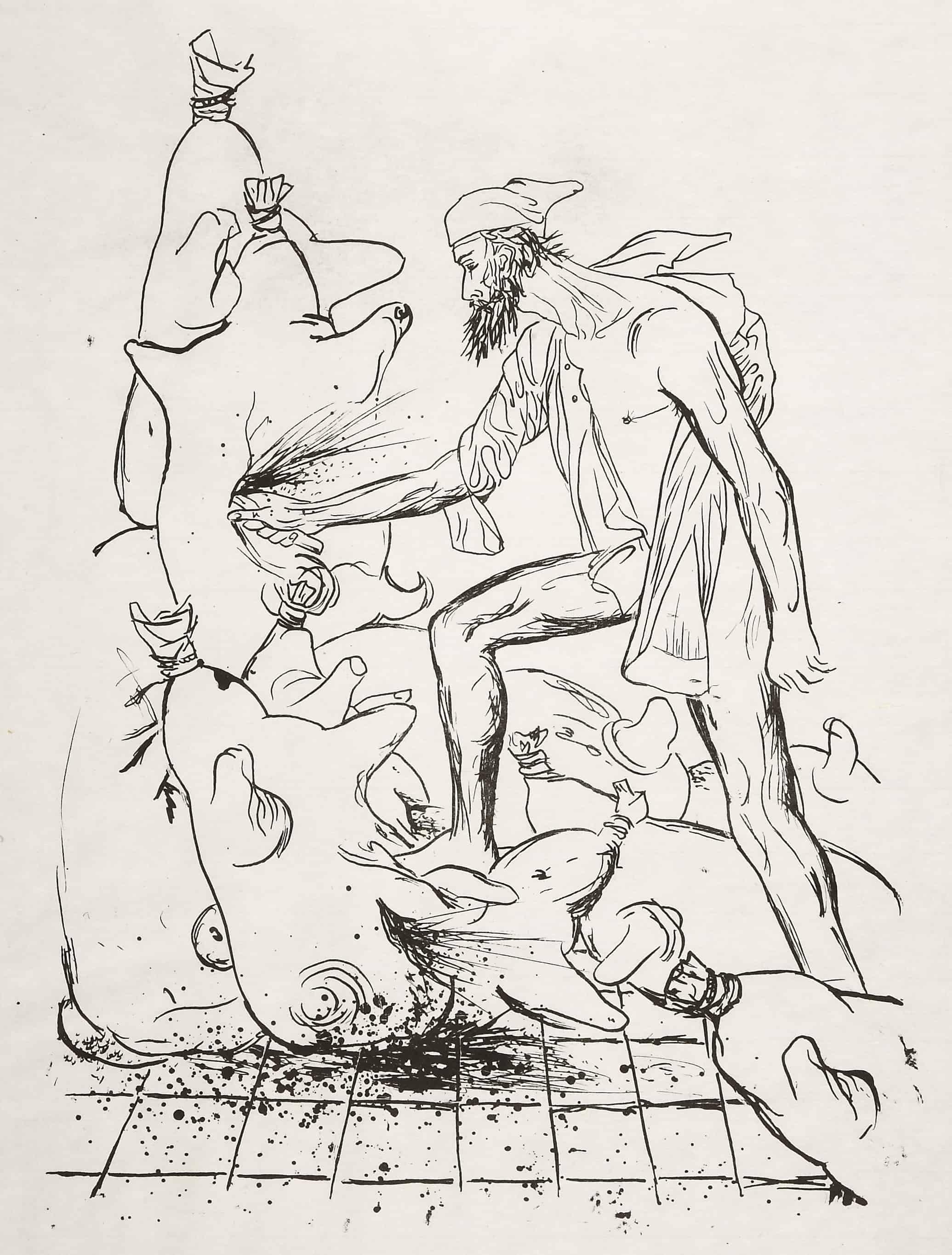 XI. Don Quijote confuso y real lucha con los pellejos de vino