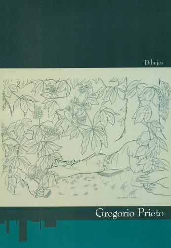 Portada del libro Dibujos de Gregorio Prieto. La portada está ilustrada con un dibujo en blanco y negro sobre fondo sepia en el que aparece la silueta de un joven leyendo tumbado en un jardín. No se ve el rostro del joven que está tapado por las hojas de un árbol que rodea toda la imagen. En primer plano hay unas manos que sostienen una flor.