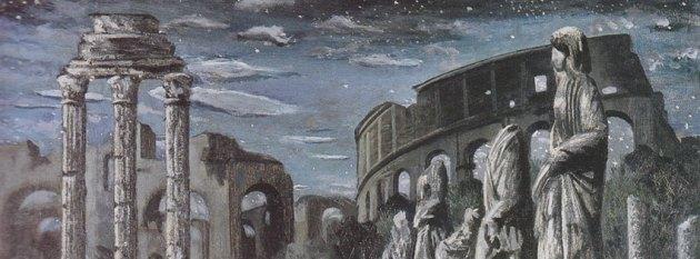 óleo con ruinas de Roma en paisaje nocturno de Gregorio Prieto