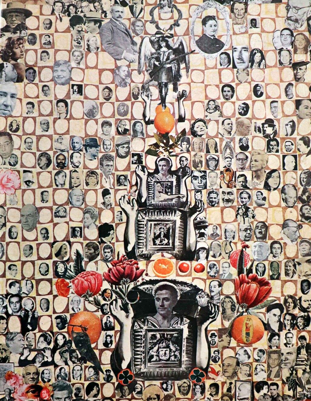 Portada del libro catálogo Gregorio Prieto obras empezadas en 1927 y terminadas en 1980. La portada es un collage donde aparecen numerosos rostros en blanco y negro del siglo 20. Desde John Lennon a Wiston Churchill